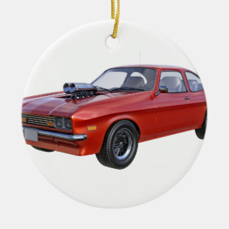 70's Muscle Car in Red Ceramic Ornament