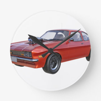 70's Muscle Car in Red Round Clock