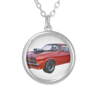 70's Muscle Car in Red Silver Plated Necklace