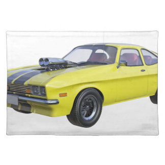 70's Muscle Car in Yellow and Black Placemat