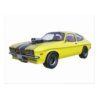 70's Muscle Car in Yellow and Black Postcard
