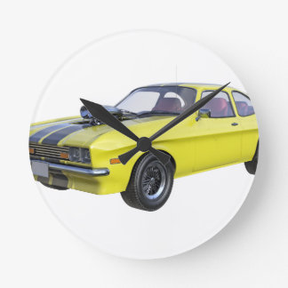 70's Muscle Car in Yellow and Black Round Clock