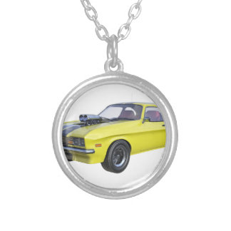70's Muscle Car in Yellow and Black Silver Plated Necklace