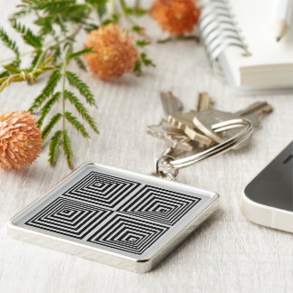 70s Op Art Silver-Colored Square Key Ring