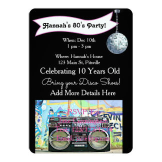 70's or 80's Party Disco Birthday Invitations