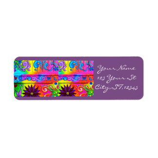 70's psychedelic style groovy return address label