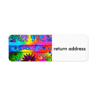 70's psychedelic style return address labels