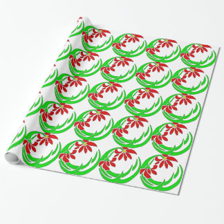 70s Retro Deco Flower Motif Gift Wrapping Paper