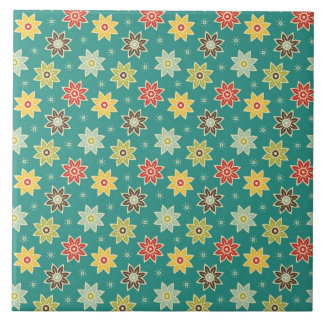 70s Retro Flower Pattern Large Square Tile