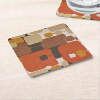 70s Retro Geometric Square Paper Coaster