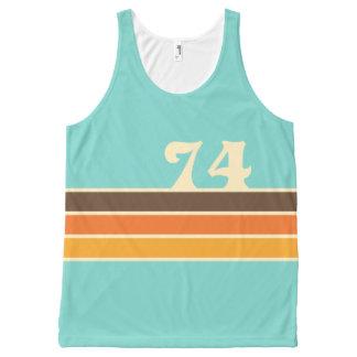 70's Retro Inspired Beach Chest Stripes All-Over Print Singlet