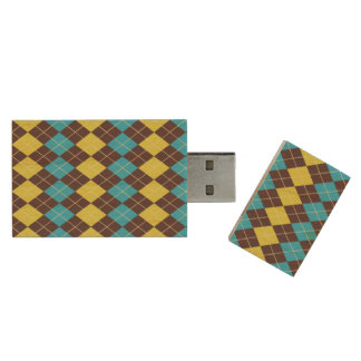 70s Scottish Tartan-Pattern... Wood USB Flash Drive