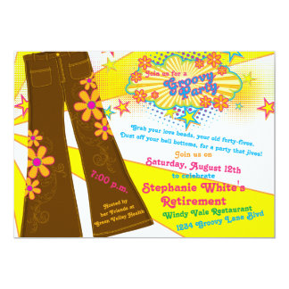 70s Theme Groovy Bell Bottoms Retirement Party Card