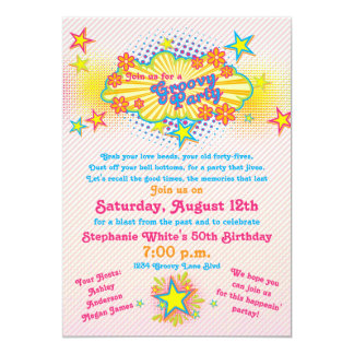 70s Theme Groovy Flower Power 50th Birthday Party 13 Cm X 18 Cm Invitation Card