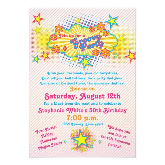 70s Theme Groovy Flower Power 50th Birthday Party Card