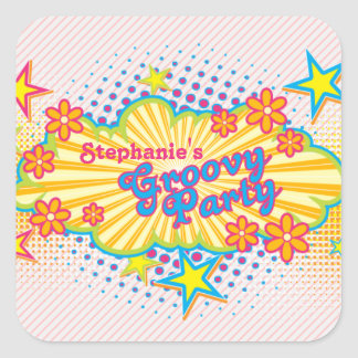 70s Theme Groovy Flower Power Personalized Party Square Sticker