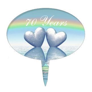 70th Anniversary Platinum Hearts Cake Pick