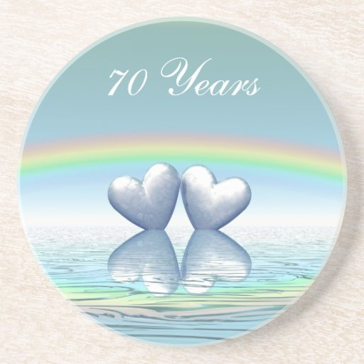 70th Anniversary Platinum Hearts Drink Coaster
