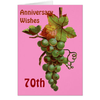 70th Anniversary wishes, customisable Greeting Card