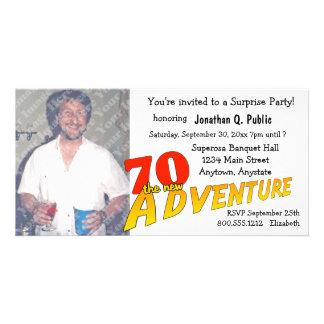 70th Birthday Adventure Party Photo Invitation Customised Photo Card
