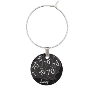 70th Birthday Black Balloons  | DIY Text Wine Charm