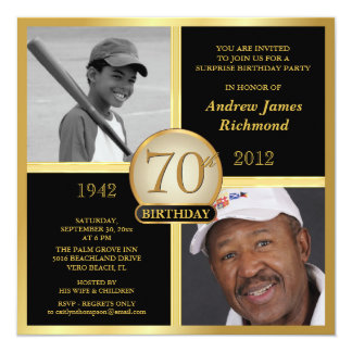 70th Birthday Black & Gold Then-Now 2-Photos 13 Cm X 13 Cm Square Invitation Card