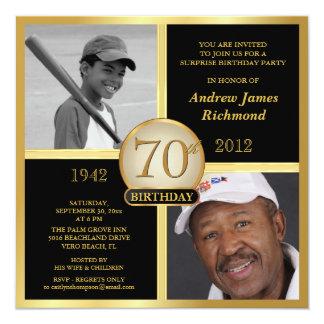 70th Birthday Black & Gold Then-Now 2-Photos Card