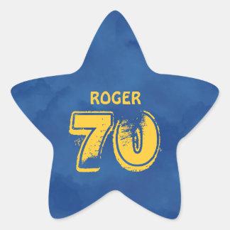 70th Birthday Blue Gold For Him Grunge Text A01G Star Sticker