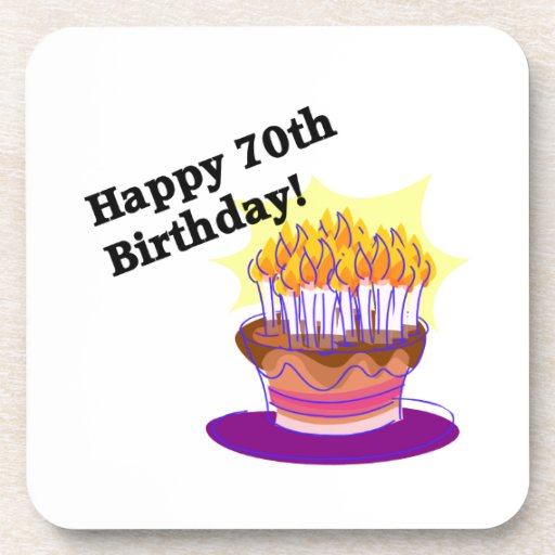 70th Birthday Cake Beverage Coaster