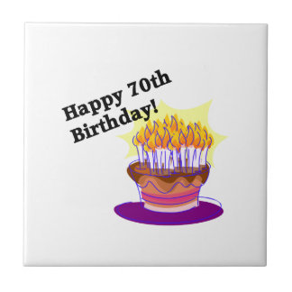 70th Birthday Cake Small Square Tile