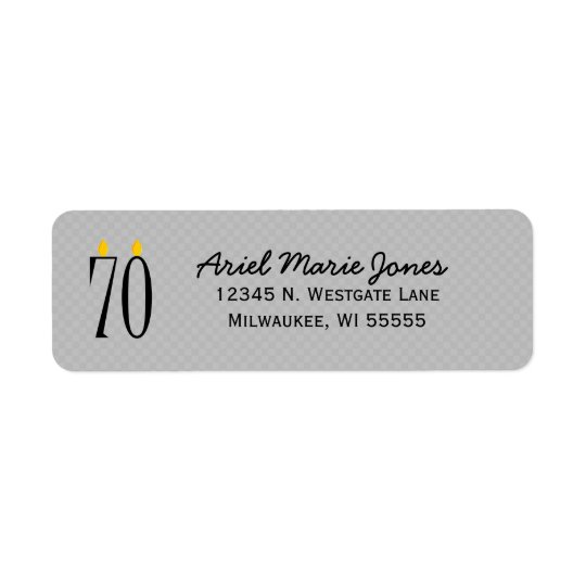 70th Birthday Candle Grey Return Address Labels
