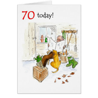 70th Birthday Card - Relaxing in the Garden Shed