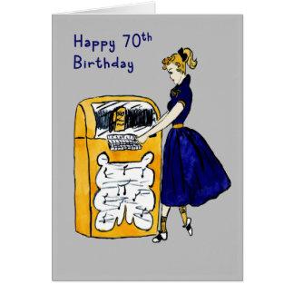 70th Birthday Card Retro Juke Box & Lady