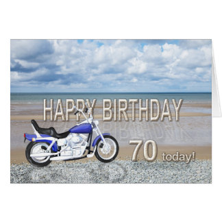 70th birthday card with a motor bike