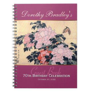 70th Birthday Celebration Butterfly Peonies Guest Notebooks