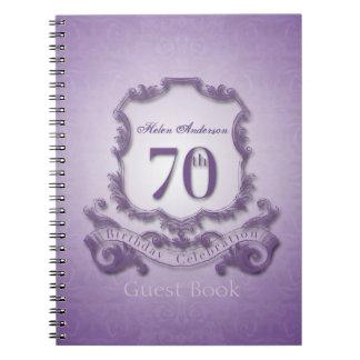 70th Birthday Celebration Custom Framed Guest Book Notebooks