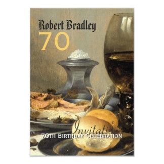 "70th Birthday Celebration Customizable Invitation 3.5"" X 5"" Invitation Card"