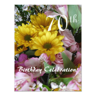 """70th Birthday Celebration!-Party/Floral Bouquet 4.25"""" X 5.5"""" Invitation Card"""