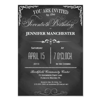 "70th Birthday Chalkboard Typography Party Invite 5"" X 7"" Invitation Card"