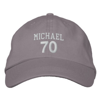 70th Birthday Custom Name WHITE Embroidery V01DA Embroidered Hat