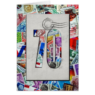 70th Birthday for stamp collector Stationery Note Card
