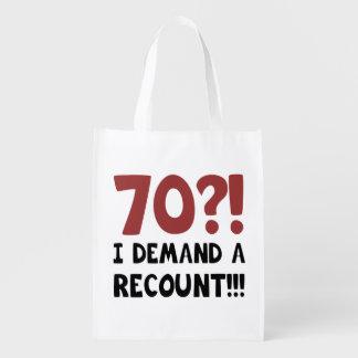 70th Birthday Gag Gift Reusable Grocery Bag