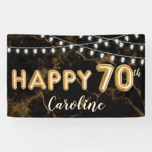 70th Birthday Gold Black Balloon Lights Banner