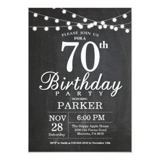 70th Birthday Invitation Chalkboard String Lights