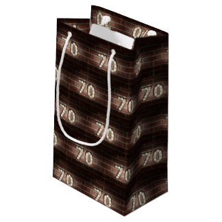 70th birthday-marque lights on brick small gift bag
