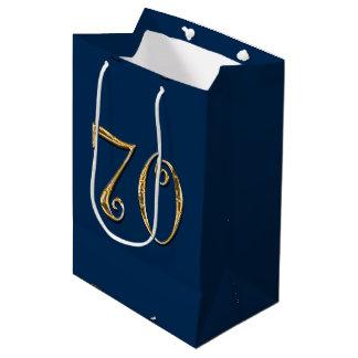 70th birthday | MENS blue gold Medium Gift Bag