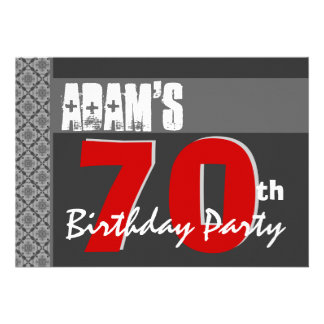70th Birthday Modern For Him Red White Gray W1708 Announcement