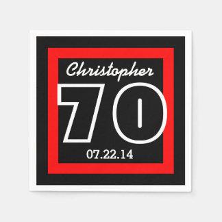 70th Birthday Modern Geometric Square Frame Disposable Serviette