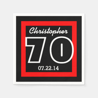 70th Birthday Modern Geometric Square Frame Paper Serviettes