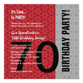 70th Birthday Modern Red Silver Black Funny D848 Card